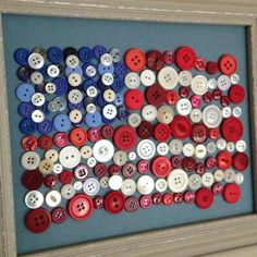 Button flag in frame, USA, Red, White & Blue Z