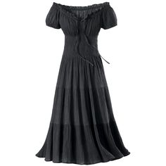 Gauze Peasant Dress  Exclusive! Shes Back. The return of the classic peasant dress—in basic black! Ankle length, graceful, and gauzy, its comfort and fit are assured by the shirred waist, and elasticized, versatile, on/off-shoulder neckline. 100% cotton. Machine washable.