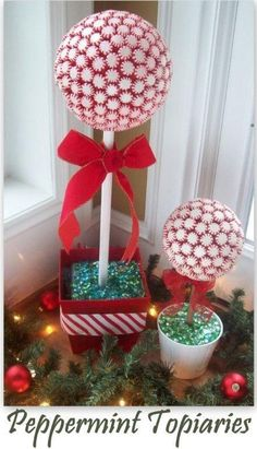 easy tutorial for Christmas candy Peppermint Topiaries