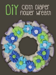 Learn how to make your own cloth diaper flower wreath for under 40 bucks! These make great baby shower decorations and great baby shower gifts!