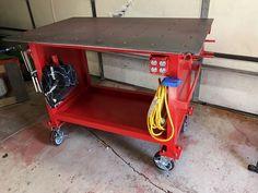 Welding Bench, Welding Table Diy, Welding Cart, Welding Shop, Welding Tools, Metal Welding, Welding Design, Metal Projects, Welding Projects
