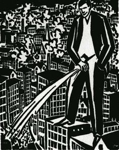 A black-and-white drawing of a giant man urinating on a city.