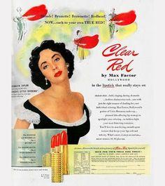 Vintage Makeup Elizabeth Taylor for Clear Red by Max Factor 1951 Vintage Makeup Ads, Retro Makeup, Vintage Beauty, Vintage Ads, Vintage Posters, 1950s Makeup, Fancy Makeup, Vintage Vanity, Vintage Items
