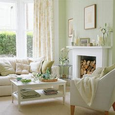 Love the firewood stacked IN the fireplace! Not practical for use, but who cares about practicality?!