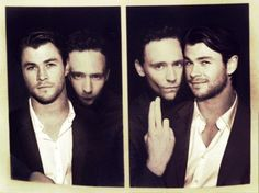 Thor and Loki in a photobooth