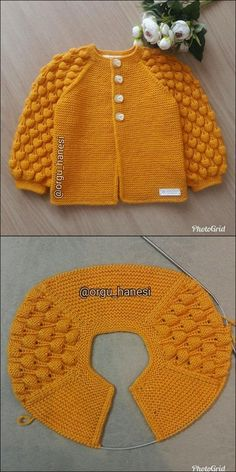 Crochet Baby Jacket, Baby Cardigan Knitting Pattern, Crochet Baby Clothes, Baby Knitting Patterns, Crochet Sweater Design, Crochet Designs, Knitting Designs, Crochet Girls, Knit Crochet