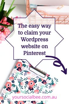 How to claim your website for Pinterest - the quick and easy way. Follow these instructions to quickly verify your website domain for Pinterest. Pinterest Design, Pinterest Website, Pinterest For Business, Seo Tips, Verify, Virtual Assistant, Make Money Blogging, Pinterest Marketing, Small Businesses