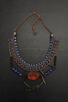 Amazing gift for ethnic lovers. Boho jewellery / Statement Necklaces – Aztec Style Necklace with Agate Slice – a unique product by gudbling via en.DaWanda.com