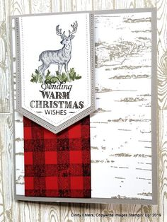 Cindy's Stamping Studio: Christmas Cards in Red Plaid using Rustic Retreat, Buffalo Plaid and Birch Stamped Christmas Cards, Simple Christmas Cards, Printable Christmas Cards, Christmas Card Crafts, Homemade Christmas Cards, Merry Christmas Card, Stampin Up Christmas, Christmas Greeting Cards, Handmade Christmas