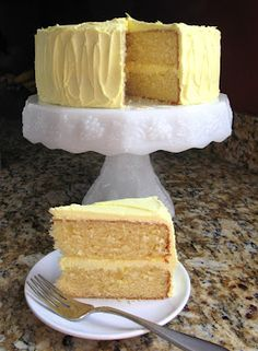 High Altitude Yellow Cake w/ Lemon Buttercream.  Tried and true from someone I totally trust!