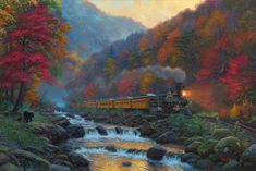 Passengers on the Smoky Train are enjoying their view of the autumn trees, rushing water and they're even getting a glimpse of bears in this 1000 piece puzzle! Pumpkin Patch Farm, Rocky River, Autumn Trees, Autumn Art, Fall Leaves, Large Art, Scenery, Art Gallery, Things To Come