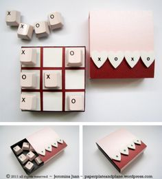 After harvesting keyboard keys to create framed Valentine messages, I thought the X's and O's couldn't be more perfect for a pocket-size Valentine tic tac toe game.