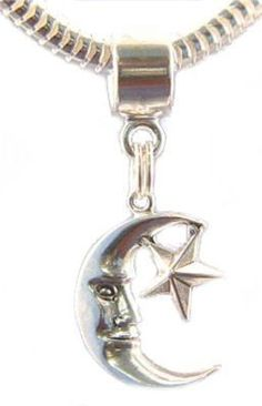$17.99 NEW .925 Sterling Silver Dangle Bead! Fits all popular styles of European bead bracelets such as Pandora, Biagi, Chamilia and Troll. Crescent moon with face and five point star, shiny sterling silver dangle bead. 28mm x 12mm. The hole itself is 6mm wide. Marked for sterling silver. Although not made by Pandora, Biagi or Chamilia, this bead is compatible with these and other European Bead bracelets.