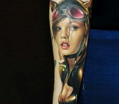 Nice 3 colors realistic tattoo style of Catwoman motive done by tattoo artist Alexander Kolbasov 3d Tattoos, Pin Up Tattoos, Great Tattoos, Beautiful Tattoos, Tattoos For Guys, Tattoos For Women, Awesome Tattoos, Beautiful Body, Tatoos