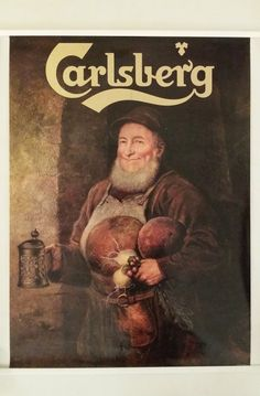 This is quite a cheerful fellow to hang on your wall. The image shows an old brewer holding his beer mug in one hand and in the hand he is