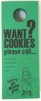 I cant believe i didnt think of this when i was selling.girl scout cookie door hanger - I'll have to remember this when my future daughter is in Girl Scouts! Girl Scout Swap, Girl Scout Leader, Girl Scout Troop, Scout Mom, Cub Scouts, Tiger Scouts, Girl Scout Cookie Sales, Girl Scout Cookies, Girl Scouts Of America