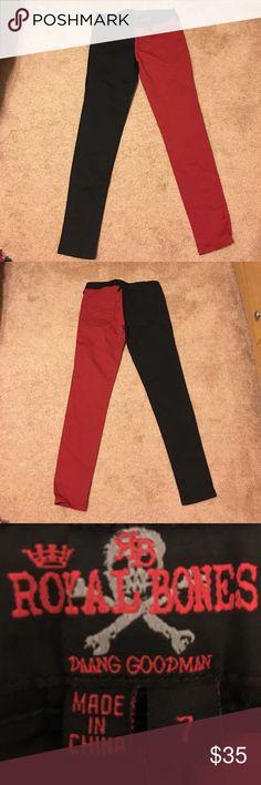Black/red jeans Rad half black half red jeans! Never worn! NWOT Jeans Skinny
