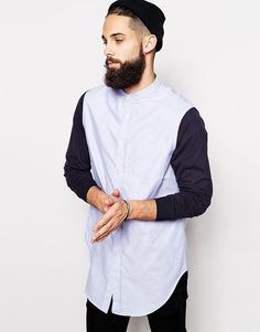ASOS | ASOS Super Longline Shirt With Contrast Sleeves And Grandad Collar at ASOS