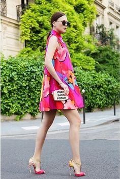 Vestido trapecio de flores Colours flowers dresses. Summer , pretty dress, pink dress