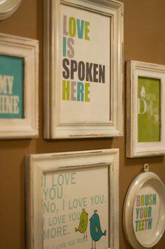 framed sayings in Bug & Phee's bathroom . . . summer craft!!!!