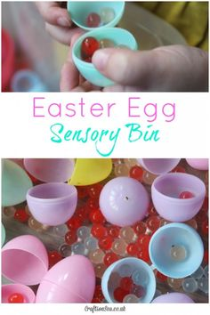 'Wow!' That was my daughter's reaction to this simple Easter egg sensory bin. A great fun sensory play idea.