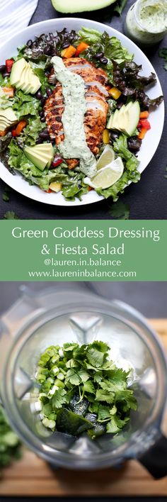Skyr yogurt lightens up this poblano, cilantro and green onion-based Green Goddess dressing over fresh greens with southwest spice marinaded chicken. #greengoddess #salad #healthy #lowcarb #glutenfree