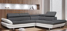 Ιδιαίτερος καναπές για ιδιαίτερους χώρους. Η γωνία διατίθεται και σε αριστερή και σε δεξιά πλευρά προκειμένου να προσαρμόζεται σε κάθε χώρο. Σε δύο μοναδικές αποχρώσεις: ανθρακί ύφασμα με λευκή δερματίνη και καφέ δερματίνη. #epiplaki #cornersofa #sofa #furniture #καναπες Sofa, Couch, Furniture, Home Decor, Decoration Home, Room Decor, Settee, Sofas, Home Furniture