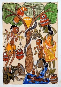 Tribal Family - Kalighat Painting - Folk Art Paintings (Kalighat Painting - Water Color on Paper - Unframed) Pichwai Paintings, Indian Art Paintings, Abstract Paintings, Indian Art Gallery, Peacock Wall Art, Kalamkari Painting, Madhubani Art, Indian Folk Art, Madhubani Painting