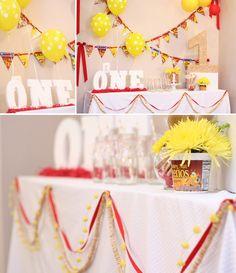CHEERIO themed 1st birthday party! So cute with so many ideas! Via KarasPartyIdas.com