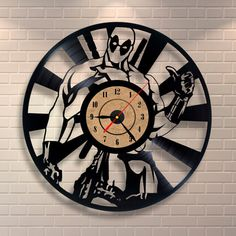 Deadpool art vinyl wall record clock by Vinylastico on Etsy