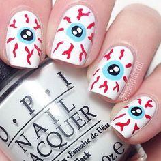 Bloodshot Eyes Design for Halloween. Halloween Nail Art Ideas.