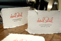 #Handmade #cotton #business #card printed on a manual #letterpress platen in the PanBonTon workshop.