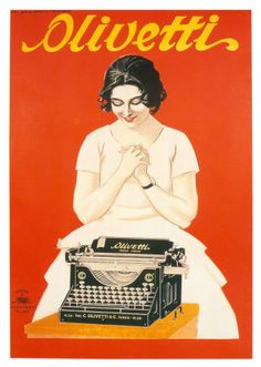 Olivetti, Typewriter, Vintage Poster, by Marcello Dudovich Old Poster, Poster Retro, Poster Ads, Retro Ads, Vintage Italian Posters, Pub Vintage, Vintage Advertising Posters, Vintage Advertisements, Advertising Campaign