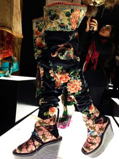 JP Gaultier Russian embroidered satin leggings over pink tights and wool socks