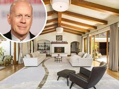 Bruce Willis' Beverly Hills Mansion For Sale  The actor's Spanish-style hacienda is on the market for $22 million. The 10,000-square-foot mansion sits on on acre of land. It has all the amenities of a classic Hollywood hacienda, including 11 bedrooms, 11 bathrooms, a tennis court, inner courtyard, formal library, multiple fireplaces, and a spacious patio and pool area.
