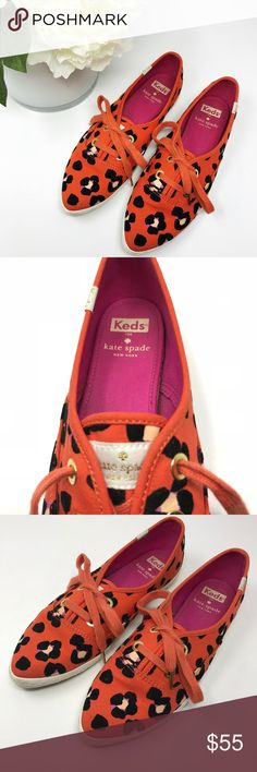 """Kate Spade Keds Leopard Canvas Pointer Sneaker Red leopard print canvas Kate Spade Keds sneaker. Pointed almond toe and a lace up design; can be worn as a slip on.  Embroidered tongue. 3/4"""" braid embossed rubber sole. Kate Spade color """"Cyber Orange"""".  Size:  7M Color:  tomato red with black leopard print.  Condition:  Very good preowned condition with minimal wear.  Small area on left toe where felted black spot is missing some fuzz, otherwise no visible damage or flaws. kate spade Shoes…"""