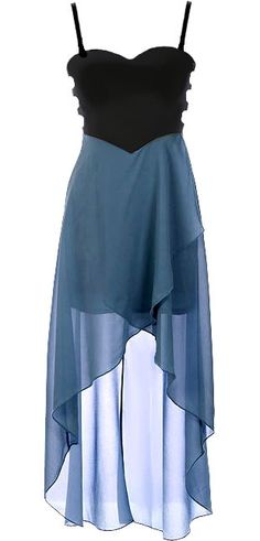 Oceanic Fantasy Dress: Features fully adjustable spaghetti straps supporting a cute sweetheart neckline, cleverly contoured bodice with side cutouts and edgy exposed rear zipper, beautiful crossover teal chiffon skirt, and a flattering high-low hem to finish.