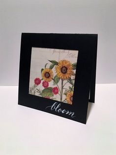 IC564 - Bloom, a warm fall welcome using scraps of Webster's Pages papers and a little handwritten calligraphy (dip pen and white calligraphy ink)