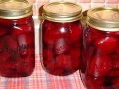 """Pickled Beets  Boil beets for 3/4 hour. Don't peel yet  Cut to within 1"""" of stem   Fill the sink with cold water and squeeze skin off  Sterilize jars :oven at 225* for at least 10 minutes  Sterilize lids by boiling for 15 minutes    Boil the following together for 5 minutes:  4-cups vinegar  1-1/2 cup water  1-cup sugar  1-1/2 tsp salt  3-tbsp mixed whole pickling spice (tied loosely in a cheese cloth bag)    Slice the beets and put into jars  Pour liquid over sliced beets  Wash rims and…"""
