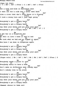 Bruce Springsteen song: Hungry Heart, lyrics and chords Easy Guitar Songs, Guitar Chords For Songs, Acoustic Guitar Lessons, Lyrics And Chords, Ukulele Songs, Music Guitar, Ukulele Tabs, Basic Guitar Lessons, Guitar Lessons For Beginners