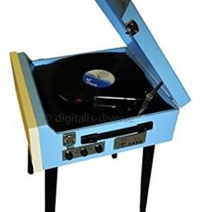 Blue Steepletone 'Dansette' Style Record Player.Lovely nostalgic retro look that will be sure to impress your friends and fill them with envy ! This lovely