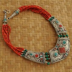 Tibetan handmade CoralTurquoise Silver Plated Necklace, by Eksha
