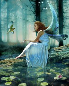 Contemplation...#faerie #fairy #pond #blue #art