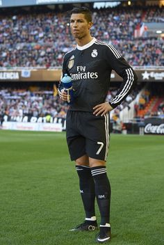 Cristiano Ronaldo of Real Madrid looks on prior to the start of the La Liga match between Valencia CF and Real Madrid CF at Estadi de Mestalla on January 4, 2015 in Valencia, Spain.