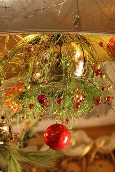 Christmas ceiling display in reds / greens with silver  Like us on Facebook, too!  https://www.facebook.com/EvergreenAtTheLake/app_161683100556760