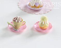 Crème Cappuccino et Religieuse (A)-12 échelle miniature food