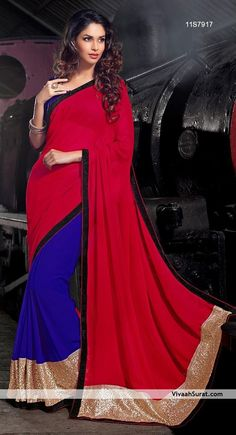 Passion Red & Blue Georgette Party Wear Sarees