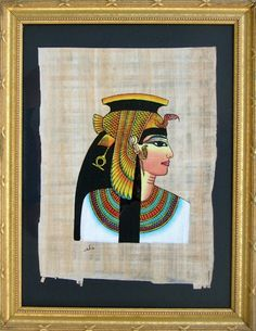 Ancient Egyptian Art - Egyptian Papyrus painting of CLEOPATRA VII - $78