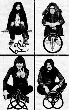 http://custard-pie.com/ Led Zeppelin and their symbols <3                                                                                                                                                     Mais