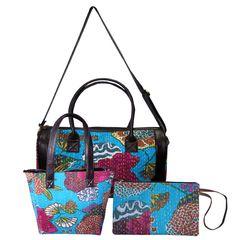 Women's Set Cotton Shoulder Bag Handbag Tote Bag With Kantha Clutch BagGift Clutch Bag, Tote Bag, Tote Handbags, Shoulder Strap, Cotton Fabric, Handmade, Ebay, Tote Bags, Taschen